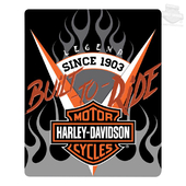 Harley-Davidson® Mens Travel Flaming B&S 50 x 60 Silk Touch Black Blanket 50