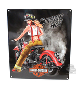 Harley-Davidson® Mens Smokin Hot Babe Firefighter Tin Sign by Ande Rooney
