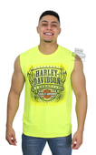 Harley-Davidson® Mens Flames Legendary HDMC Safety Green Sleeveless Muscle T-Shirt