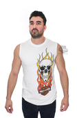 ** SMALL SIZES ONLY ** Harley-Davidson® Mens Fire Skull White Sleeveless Muscle T-Shirt