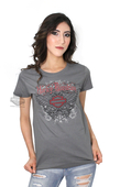 ** SIZE SMALL ONLY ** Harley-Davidson® Womens Fly By Night Scoop Neck Charcoal Short Sleeve T-Shirt *40th*