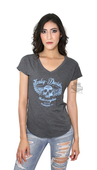 ** SMALL SIZES ONLY ** Harley-Davidson® Womens Intense Skull Wings Short Sleeve V-Neck