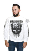 Harley-Davidson® Mens Grudge Skulls with Flames White Long Sleeve T-Shirt