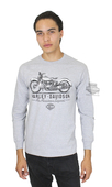 ** SMALL & BIG SIZES ONLY ** Harley-Davidson® Mens American Legend Motorcycle Grey Long Sleeve T-Shirt