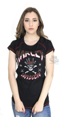 ** SIZE LARGE ONLY ** Harley-Davidson® Womens Top Hat Sparkle Skull with Studs Black Short Sleeve T-Shirt