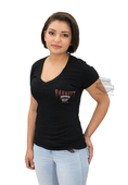 ** SMALL SIZES ONLY ** Harley-Davidson® Womens Barnett Harley Exclusive Longhorn V-Neck Black Short Sleeve T-Shirt