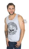 Harley-Davidson® Mens Pave the Way Willie G Skull Grey Sleeveless Tank