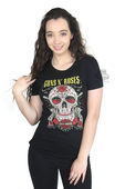 Harley-Davidson® Womens Bandito Sugar Skull Guns N' Roses Black Short Sleeve T-Shirt