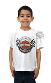 Harley-Davidson® Boys Youth Legendary Racing Flags White Short Sleeve T-Shirt *48HR*