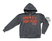 ** TODDLER SIZE ONLY ** Harley-Davidson® Boys Youth Brazen Defiance B&S Full Zip Charcoal Long Sleeve Hoodie