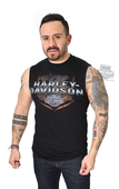 ** SMALL & BIG SIZES ONLY ** Harley-Davidson® Mens Custom Serenity Diamond Plate with B&S Black Sleeveless Muscle T-Shirt