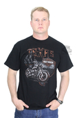 Harley-Davidson® Mens Texas State Bike with Flames Black Short Sleeve T-Shirt