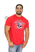 ** SIZE SMALL ONLY ** Harley-Davidson® Mens Admirable Regard Patriotic Skull with Flames Red Short Sleeve T-Shirt