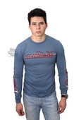 ** SIZE 5X ONLY ** Harley-Davidson® Mens Escape The Wrath Flames with B&S Blue Long Sleeve T-Shirt