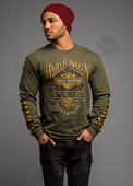 ** SIZE X-LARGE ONLY ** Harley-Davidson® Mens Thunder Ambience Trademark B&S Green Long Sleeve T-Shirt