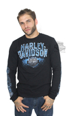 ** SIZE MEDIUM ONLY ** Harley-Davidson® Mens Power Metal Chrome Diamond Plate with B&S Black Long Sleeve T-Shirt