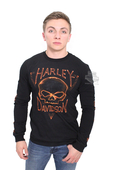 ** BIG SIZES ONLY ** Harley-Davidson® Mens Unsettled Dust Willie G Skull Black Long Sleeve T-Shirt