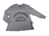 ** SIZE SMALL-08Y ONLY ** Harley-Davidson® Boys Youth Dirty Trip Motorcycle Flames Grey Long Sleeve T-Shirt *KIDW*
