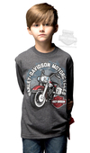 Harley-Davidson® Boys Youth Biker Sidekick Motorcycle Charcoal Long Sleeve T-Shirt