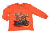 Harley-Davidson® Boys Youth Hold Tight Motorcycle Orange Long Sleeve T-Shirt