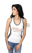 Harley-Davidson® Womens Craving Curves Colorblocked V-Neck White Sleeveless Tank