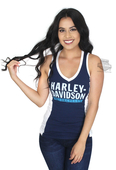 Harley-Davidson® Womens Burning Attraction Colorblock V-Neck Navy Sleeveless Tank