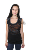 Harley-Davidson® Womens Command Attention Trademark B&S Raglan Black Sleeveless T-Shirt