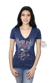 ** SMALL SIZES ONLY ** Harley-Davidson® Womens Chrome Babes Eagle with Skull V-Neck Blue Short Sleeve T-Shirt