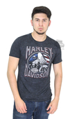 ** SIZE SMALL ONLY ** Harley-Davidson® Mens Recycled Heritage Motorcycle with Flag Blue Short Sleeve T-Shirt