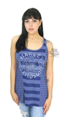Harley-Davidson® Womens Chrome Trip Striped Racerback Blue Sleeveless Tank