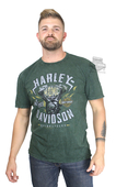 Harley-Davidson® Mens Street Machine Engine Flames Mineral Wash Green Short Sleeve T-Shirt