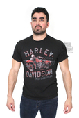 ** SIZE SMALL & LARGE ONLY ** Harley-Davidson® Mens Fire Wings Motorcycle Black Short Sleeve T-Shirt