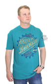** BIG SIZES ONLY ** Harley-Davidson® Mens Grab On Gear Flaming H-D Name Green Short Sleeve T-Shirt