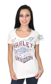 ** SMALL & BIG SIZES ONLY ** Harley-Davidson® Womens Sparkle B&S Flames with Rhinestones Tan Short Sleeve T-Shirt
