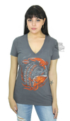 ** SMALL & BIG SIZES ONLY ** Harley-Davidson® Womens Tribal Tradition Flames with Skull Charcoal Short Sleeve T-Shirt