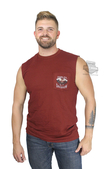 Harley-Davidson® Mens Rock Speed Engine Pocket Red Sleeveless Muscle T-Shirt
