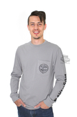Harley-Davidson® Mens Cable Buster B&S Pocket Grey Long Sleeve T-Shirt