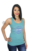 Harley-Davidson® Womens Celestial Flavor B&S Stretch Rib Blue Sleeveless Tank