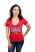 ** SMALL SIZES ONLY ** Harley-Davidson® Womens Open Opportunity Wings Red Short Sleeve V-Neck