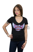 ** SMALL SIZES ONLY ** Harley-Davidson® Womens Two Wheeled Freedom Winged Trademark B&S Black Short Sleeve T-Shirt