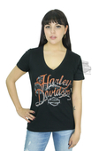 ** SMALL & BIG SIZES ONLY ** Harley-Davidson® Womens Bling Accessories B&S V-Neck Black Short Sleeve T-Shirt