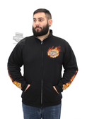 Harley-Davidson® Mens Extinguish the Flames B&S Mock Neck Full Zip Black Long Sleeve Sweatshirt