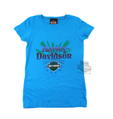 ** SMALL SIZES ONLY ** Harley-Davidson® Girls Youth Iron Doll H-D B&S Turquoise Short Sleeve T-Shirt
