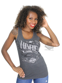 Harley-Davidson® Womens Daring Ride Skull with Flames Charcoal Sleeveless Tank