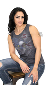 ** SIZE X-SMALL ONLY ** Harley-Davidson® Womens Eagle Banner2 Grey Sleeveless Muscle T-Shirt