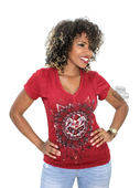 ** SMALL SIZES ONLY ** Harley-Davidson® Womens Invisible Wings Willie G Skull Mineral Wash Cardinal Short Sleeve T-Shirt