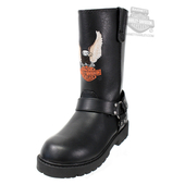 Harley-Davidson® Boys Youth Harness Eagle with B&S Black After Riding Mid Cut Boot