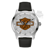 Harley-Davidson® Mens B&S with Diamond Plate Background Black Watch 76A145 By Bulova *2DY*