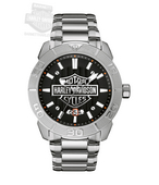 Harley-Davidson® Mens B&S Logo with Vertical Embossed Pattern Black Dial Watch 76B169 By Bulova