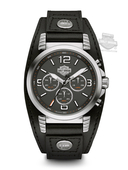 Harley-Davidson® Mens Chronograph Black Dial Calf Strap with Rivets Watch 76B173 By Bulova